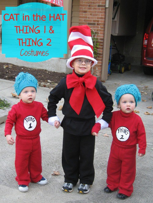 DIY Dr. Seuss Cat in the Hat and Thing 1 and Thing 2 Costumes