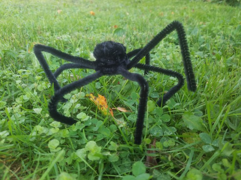 Pipe Cleaner Spider and Spiders Web for Halloween Kids Craft Tutorial