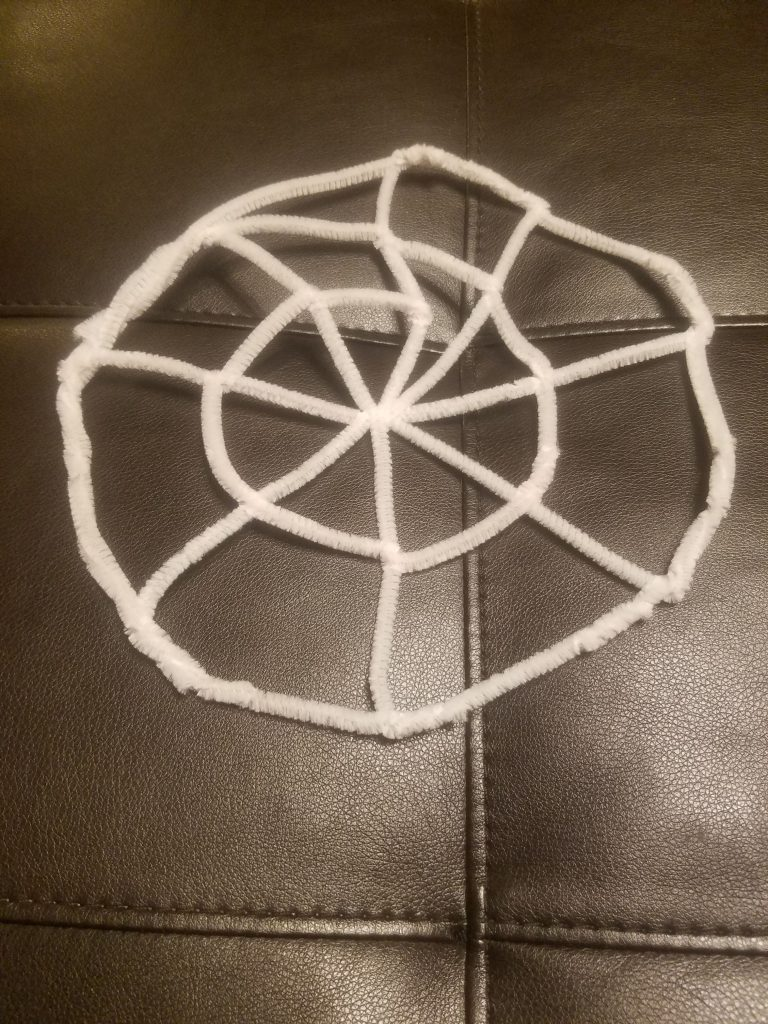 pipe cleaner spider web for halloween