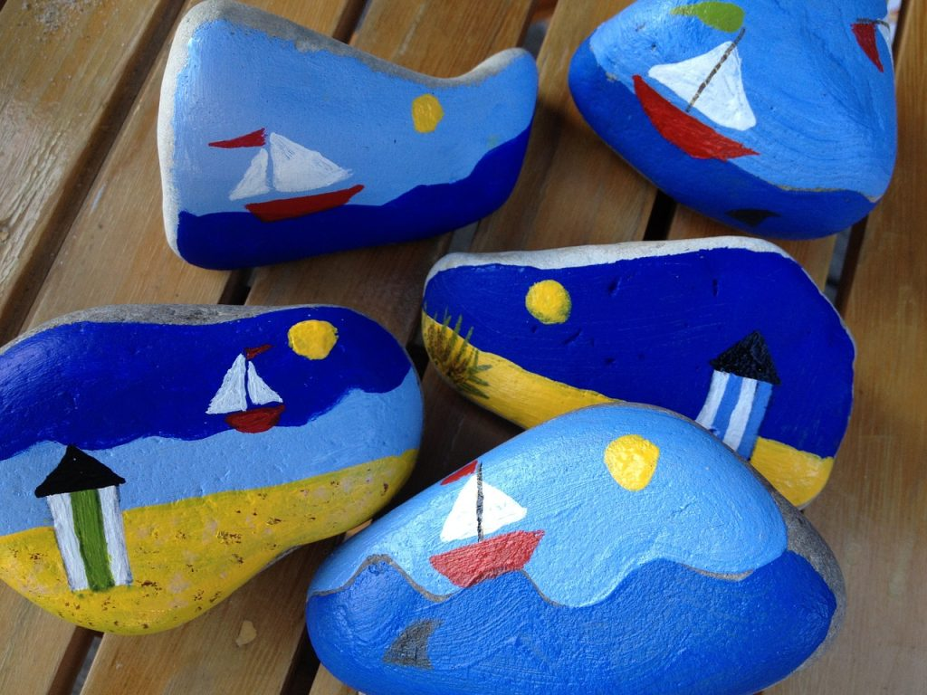 Flat Rocks For Painting sail boats