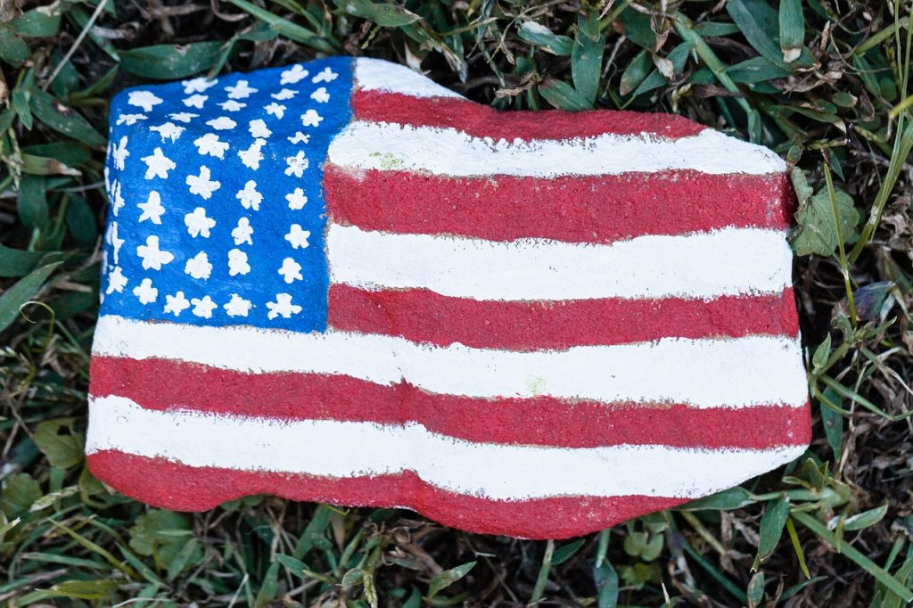 American flags on Large Craft Stones