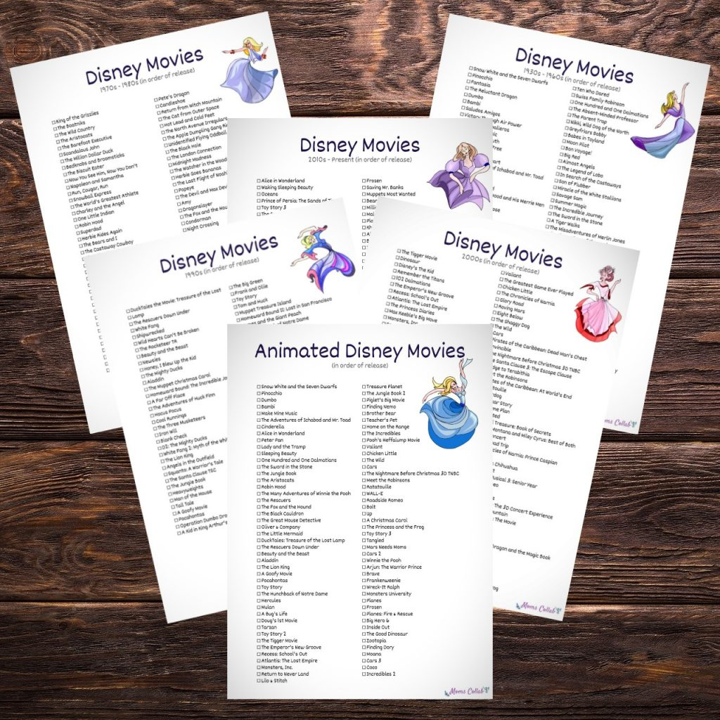 Disney Movies List Printables