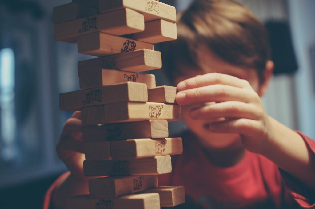 Playing Jenga with only child