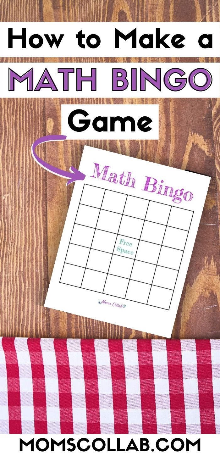 how to make a math bingo game